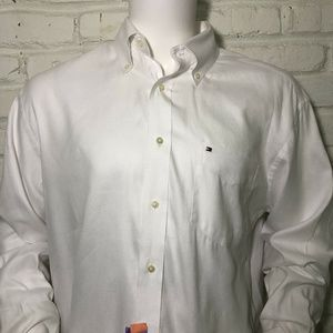 Tommy Hilfiger Mens Sz L Large Long Sleeve White
